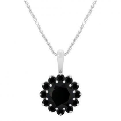 925 Sterling Silver Pendant Natural Black Spinel 6mm Round Cut Gemstone Pendant