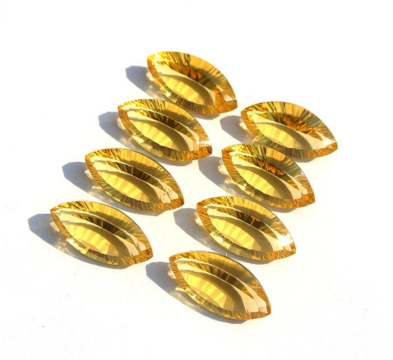 5x10mm Natural Citrine Concave Cut Marquise 25 Pieces Lot Calibrated Size Top Quality yellow Color Loose Gemstone