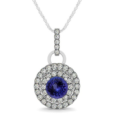 Sterling Silver Pendant With Genuine Natural Tanzanite 6mm Round Cut And White Topaz Gemstone Pendan