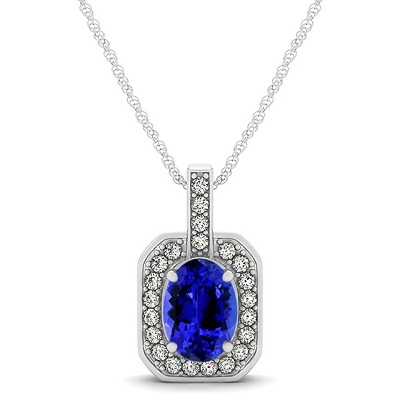 925 Silver Pendant With Genuine Natural Tanzanite 7x5mm Oval Cut And White Topaz Gemstone Pendan