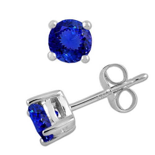 925 Sterling Silver Stud Earring Genuine Natural Tanzanite 8mm Round Cut AAA Color Tanznaite Gemstone Eariiing