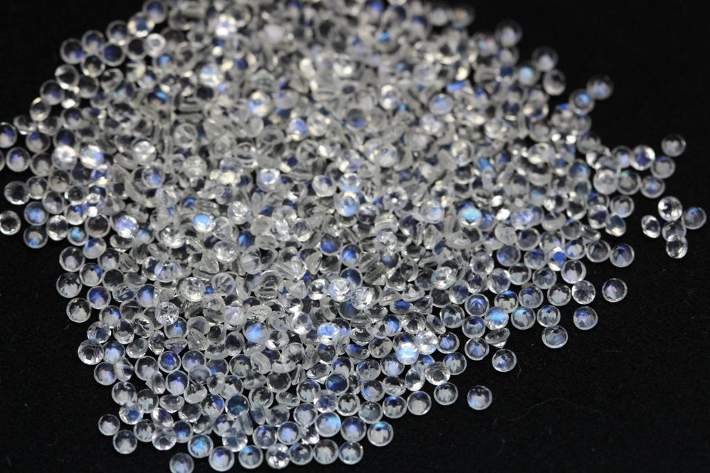Natural Rainbow Moonstone 1.5mm 100 Pieces Lot Faceted Cut Round Top Quality Blue Power - Loose Gemstone