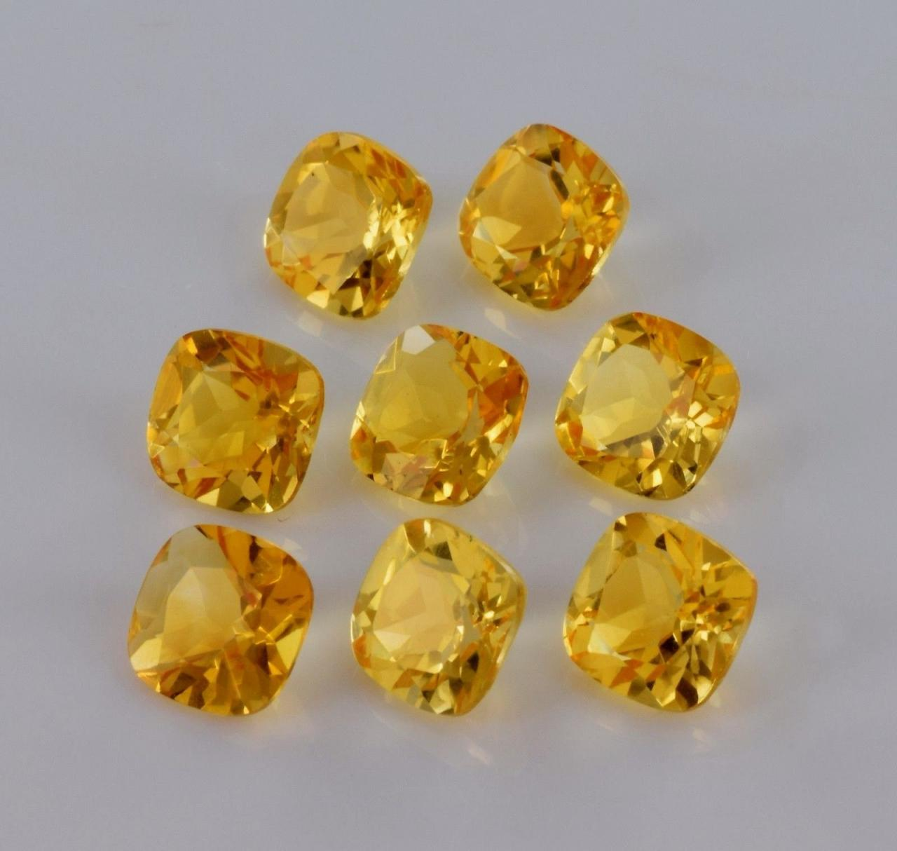 Natural Citrine - 6mm 10 Pieces Lot Calibrated Size Faceted Cut Cushion Yellow Color - Natural Loose Gemstone
