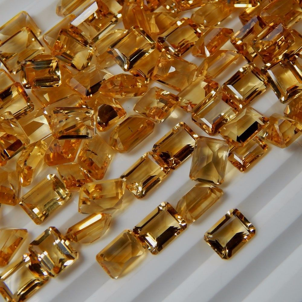 Natural Citrine - 7x5mm 100 Pieces Lot Calibrated Size Faceted Cut Octagon Yellow Color - Natural Loose Gemstone