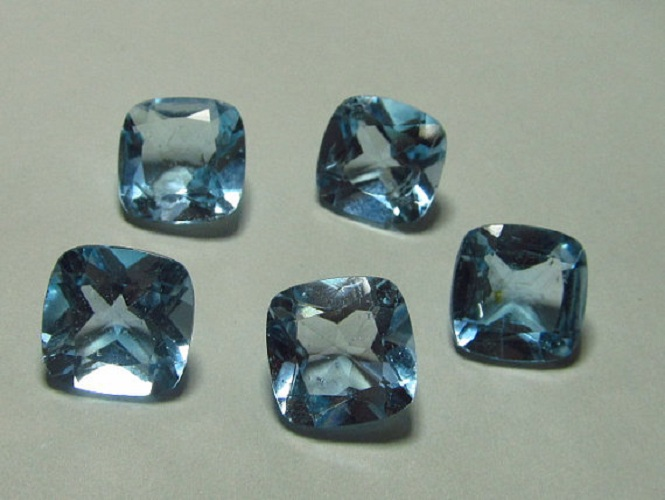 Natural Sky Blue Topaz 4mm 100 Pieces Lot Faceted Cut Cushion Blue Color - Natural Loose Gemstone