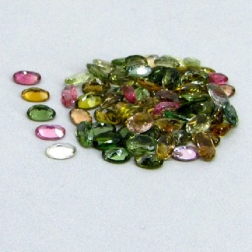 Natural Multi Tourmaline 5x4mm 10 Pieces Lot Faceted Cut Oval Multi Color - Natural Loose Gemstone