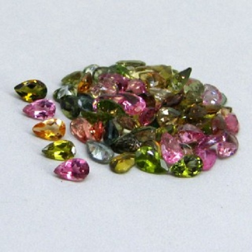 Natural Multi Tourmaline 6x4mm 10 Pieces Lot Faceted Cut Pear Multi Color - Natural Loose Gemstone