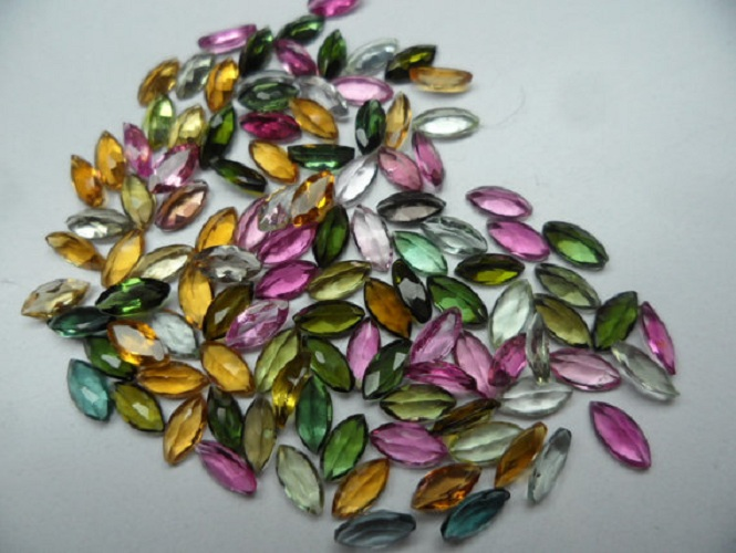Natural Multi Tourmaline 2.5x5mm 25 Pieces Lot Faceted Cut Marquise Multi Color - Natural Loose Gemstone