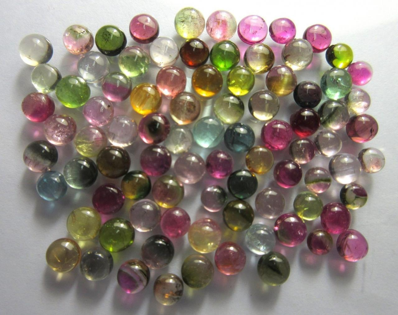 Natural Multi Tourmaline 3mm 100 Pieces Lot Cabochon Round Multi Color - Natural Loose Gemstone