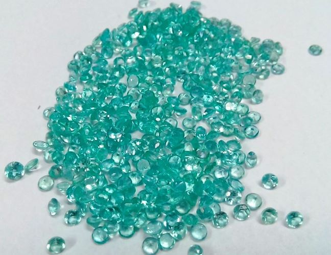 Natural Apatite 2mm 50 Pieces Lot Faceted Cut Round Greenish Blue Color - Natural Loose Gemstone