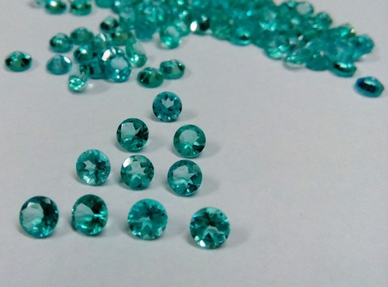 Natural Apatite 5mm 50 Pieces Lot Faceted Cut Round Greenish Blue Color - Natural Loose Gemstone