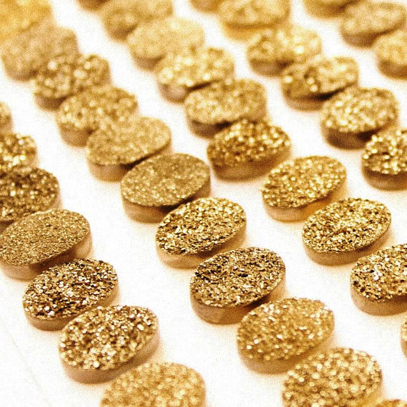 Natural 10x14mm 25 Pieces Gold Color Coating Flat Druzy Oval Best Top Gold Color Gemstone Lot