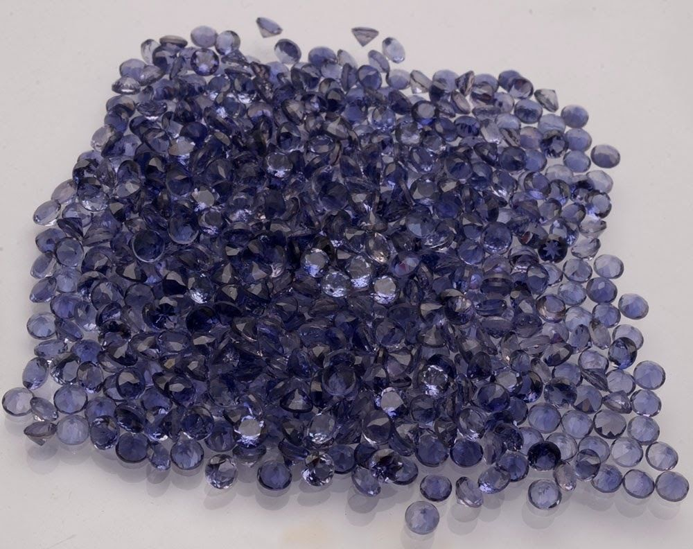 Natural Iolite 2mm 100 Pieces Lot Faceted Cut Round Blue Color - Natural Loose Gemstone