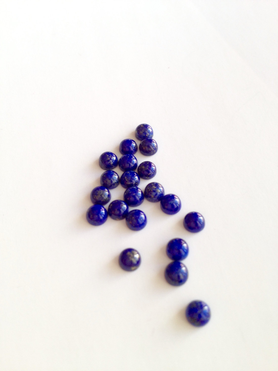 4mm Natural Lapis Lazuli - Cabochon Cut Round 50 Pieces Top Quality Blue Color - Loose Gemstone Wholesale Lot For Sale