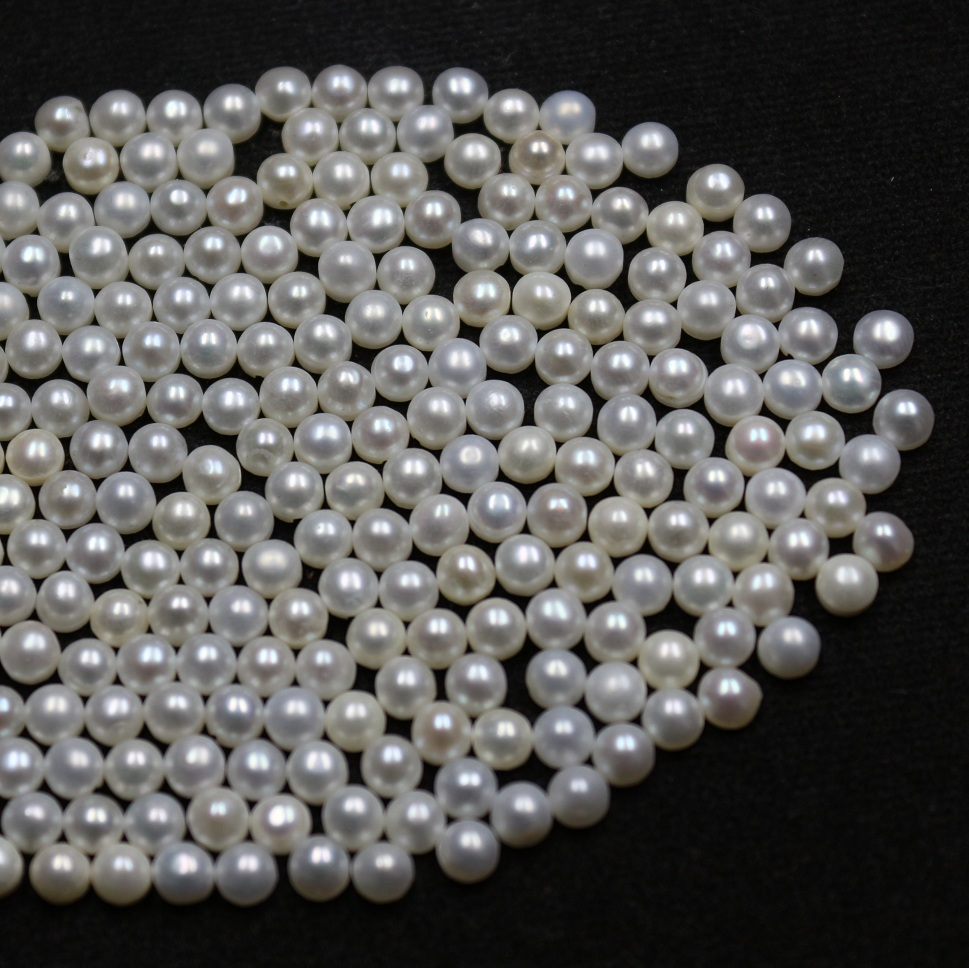 6mm Natural Fresh Water White Pearl - Half Cut cabochon Round 10 Pieces Top Quality White Pearl - Loose Gemstone Wholesale Lot For Sale