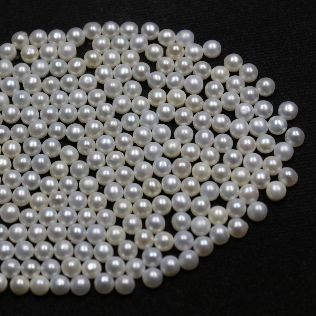 6mm Natural Fresh Water White Pearl - Half Cut Flat Back Cabochon Round 100 Pieces Top Quality White Pearl - Loose Gemstone Wholesale Lot For Sale