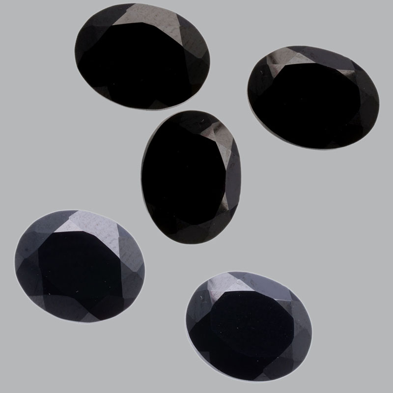 10x14mm Natural Black Spinel Faceted Cut Oval 2 Pieces Lot Top Quality Black Color Loose Gemstone Wholesale Lot For Sale