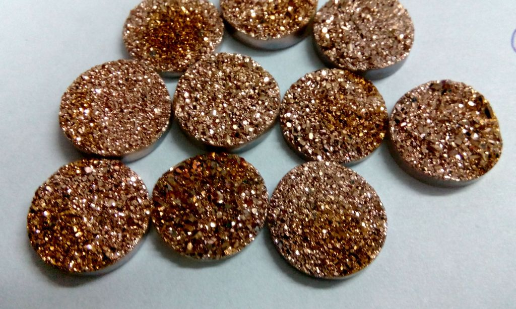 15mm Natural Rose Gold Color Coating Flat Druzy 2 Pieces Lot Round Best Top Rose Gold Color Loose Gemstone Wholesale Lot For Sale