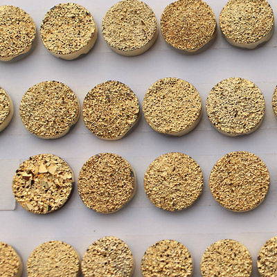 11mm Natural Gold Druzy Color Coating Flat Druzy 2 Pieces Round Best Top Gold Druzy Color Loose Gemstone Wholesale Lot For Sale