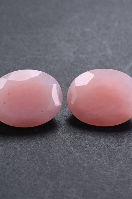 18x13mm Natural Pink Opal 2 Piece ( 1Pair) Faceted Cut Oval Top Quality Pink Color Loose Gemstone Wholesale Lot For Sale