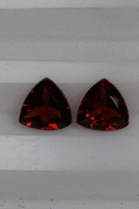 4mm Natural Red Garnet Faceted Cut Trillion 2 Piece (1 Pair) Color ( AA) Red Garnet Top Quality Loose Gemstone