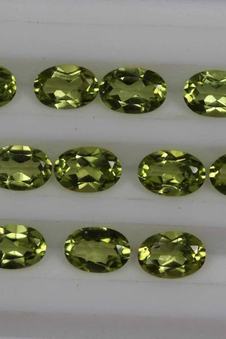 6x8mm Natural Peridot Faceted Cut Oval 10 Pieces Lot Calibrated Size VS Quality Green Color Loose Gemstone