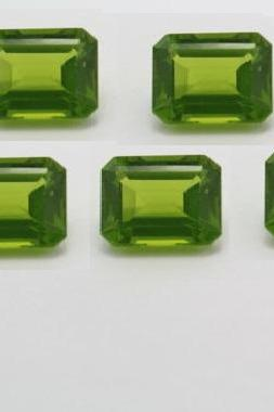 6x8mm Natural Peridot Faceted Cut Octagon 5 Pieces Lot Calibrated Size SI Quality Green Color Loose Gemstone