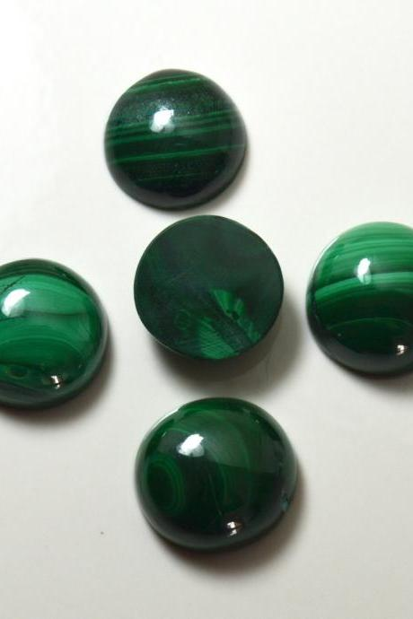10mm Natural Malachite Cabochon Round 2 Piece (1 Pair ) Calibrated Size Top Quality Green Color Loose Gemstone