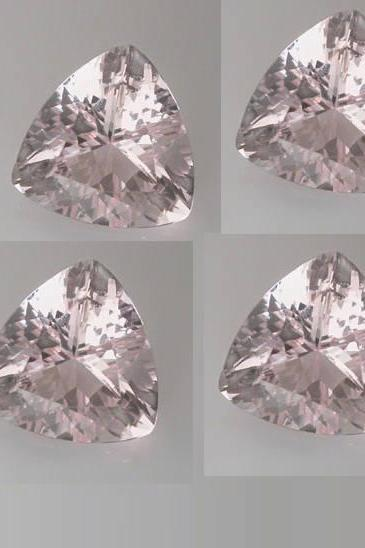 6mm Natural Morganite Faceted Cut Trillion 5 Pieces Lot Calibrated Size Top Quality Peach Color Loose Gemstone Wholesale for sale