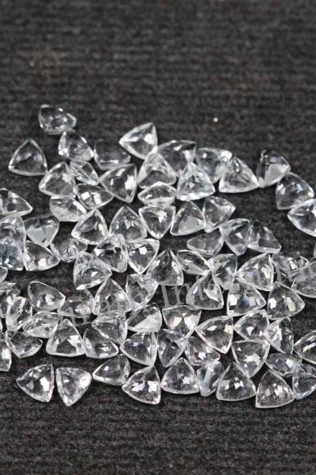 4mm Natural Crystal Quartz Faceted Cut Trillion 5 Pieces Lot Calibrated Size Top Quality white Color Loose Gemstone
