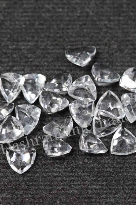 6mm Natural Crystal Quartz Faceted Cut Trillion 10 Pieces Lot Calibrated Size Top Quality white Color Loose Gemstone