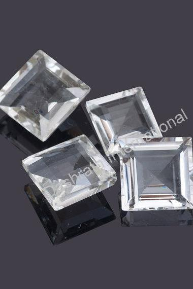 8mm Natural Crystal Quartz Faceted Cut Square 10 pieces Lot Calibrated Size Top Quality white Color Loose Gemstone