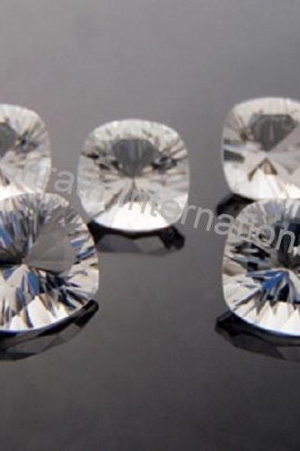 11mm Natural Crystal Quartz Concave Cut Cushion 2 piece (1 Pair ) Calibrated Size Top Quality white Color Loose Gemstone