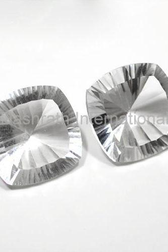 20mm Natural Crystal Quartz Concave Cut Cushion 2 piece (1 Pair ) Calibrated Size Top Quality white Color Loose Gemstone