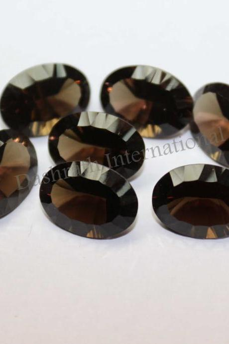 13x18mm Natural Smoky Quartz Concave Cut Oval 75 Pieces Lot Brown Color Top Quality - Natural Loose Gemstone Wholesale Lot For Sale