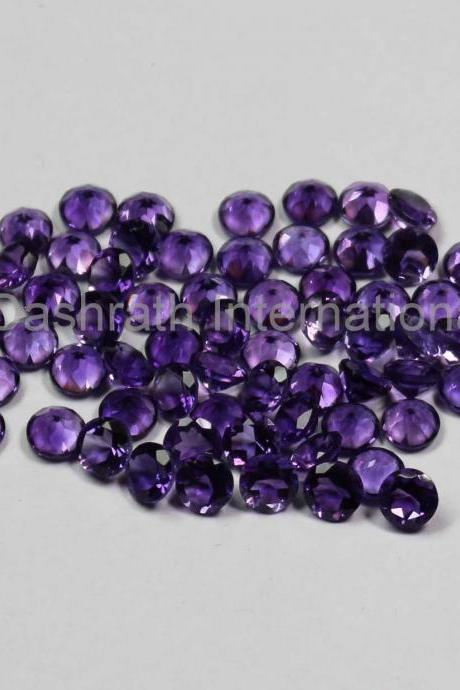 12mm Natural Amethyst Faceted Cut Round 1 Piece ( AA) Purple Color Top Quality Loose Gemstone