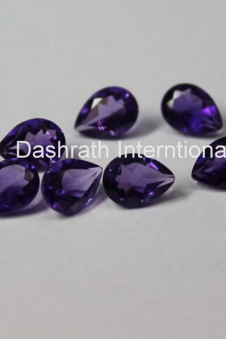 5x8mm Natural Amethyst Faceted Cut Pear 10 Pieces Lot ( AA) Purple Color Top Quality Loose Gemstone