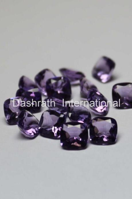 4mm Natural Amethyst Faceted Cut Cushion 10 Pieces Lot ( AA) Purple Color Top Quality Loose Gemstone