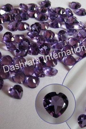 5mm Natural Amethyst Faceted Cut Heart 10 Pieces Lot ( AA) Purple Color Top Quality Loose Gemstone