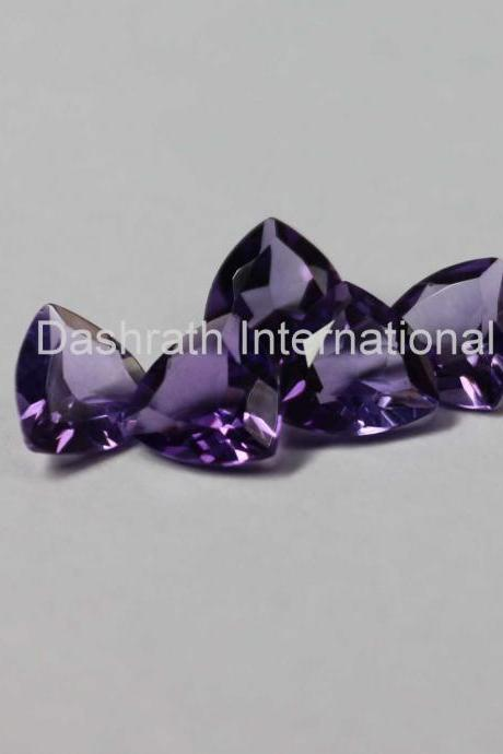 9mm Natural Amethyst Faceted Cut Trillion 50 Pieces Lot ( AA) Purple Color Top Quality Loose Gemstone