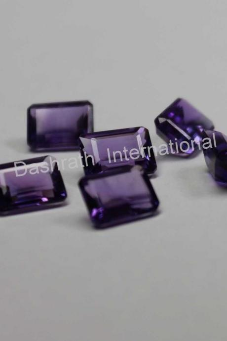 9x7mm Natural Amethyst Faceted Cut Octagon 10 Pieces Lot ( AA) Purple Color Top Quality Loose Gemstone
