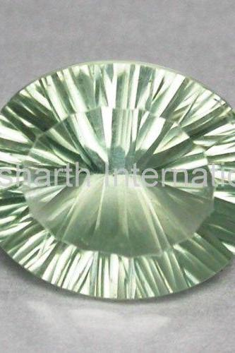 10x12mm Natural Green Amethyst Concave Cut Oval 75 Pieces Lot Green Color Top Quality Loose Gemstone