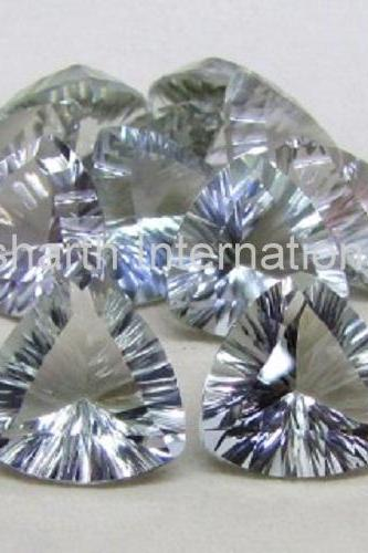 11mm Natural Green Amethyst Concave Cut Trillion 100 Pieces Lot Green Color Top Quality Loose Gemstone