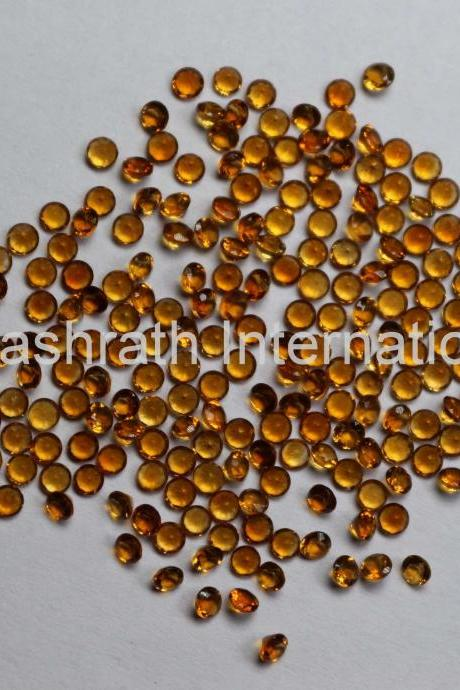 1.25mm Natural Citrine Faceted Cut Round 100 Pieces Lot Yellow Color (AA) Calibrated Size Top Quality Loose Gemstone