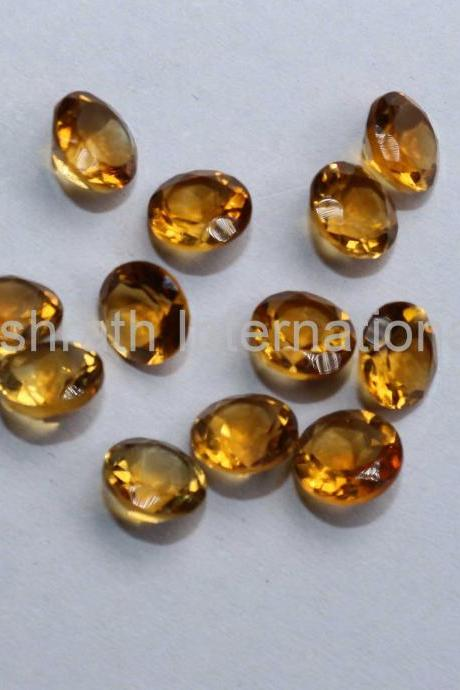 6mm Natural Citrine Faceted Cut Round 10 Pieces Lot Yellow Color (AA) Calibrated Size Top Quality Loose Gemstone