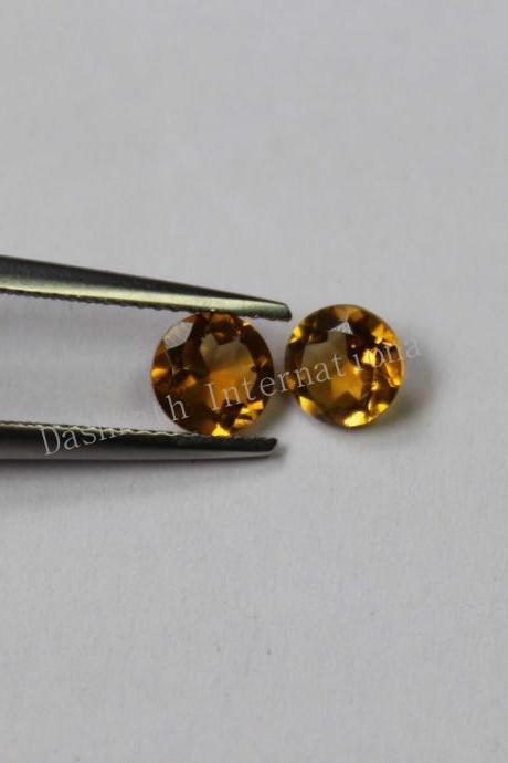 14mm Natural Citrine Faceted Cut Round 2 Piece (1 Pair) Yellow Color (AA) Calibrated Size Top Quality Loose Gemstone