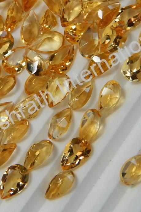 7x10mm Natural Citrine Faceted Cut Pear 50 Pieces Lot Yellow Color (AA) Calibrated Size Top Quality Loose Gemstone