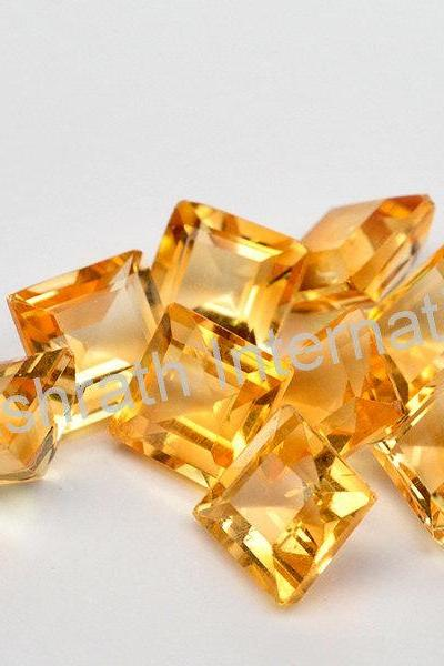4mm Natural Citrine Faceted Cut Square 5 Pieces Lot Yellow Color (AA) Calibrated Size Top Quality Loose Gemstone