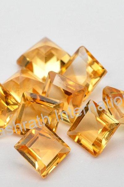 6mm Natural Citrine Faceted Cut Square 5 Pieces Lot Yellow Color (AA) Calibrated Size Top Quality Loose Gemstone