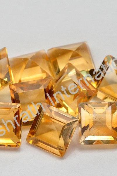 8mm Natural Citrine Faceted Cut Square 1 Piece Yellow Color (AA) Calibrated Size Top Quality Loose Gemstone